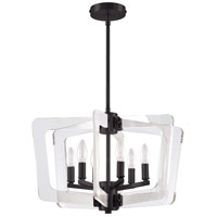 Dainolite CWR-206C-MB-CLR Clearwater 6 Light 20 inch Matte Black/Clear Chandelier Ceiling Light