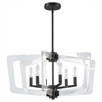 Dainolite CWR-266C-MB-CLR Clearwater 6 Light 27 inch Matte Black/Clear Chandelier Ceiling Light