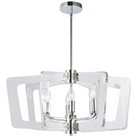 Dainolite CWR-266C-PC-CLR Clearwater 6 Light 27 inch Polished Chrome/Clear Chandelier Ceiling Light