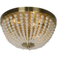 Dainolite DAW-143FH-AGB-WH Dawson 3 Light 14 inch Aged Brass Flush Mount Ceiling Light