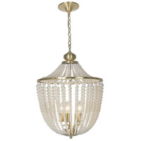 Dainolite DAW-175C-AGB-WH Dawson 5 Light 17 inch Aged Brass Chandelier Ceiling Light