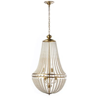 Dainolite DAW-386C-AGB-WH Dawson 6 Light 20 inch Aged Brass Chandelier Ceiling Light