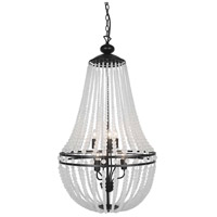 Dainolite DAW-386C-MB-FR Dawson 6 Light 20 inch Matte Black Chandelier Ceiling Light