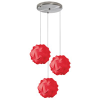 Globus 3 Light 9 inch Red Pendant Ceiling Light