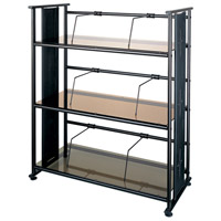 Bookshelf Bronze Glass and Oil Brush Bronze Metal Furniture