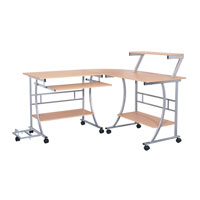 Dainolite Lighting Computer Table Furniture in Beech Wood and Silver  DCT-303-BE-SV