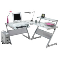 Dainolite Lighting Computer Table Furniture in Frosted and Silver  DCT-340-GL-SV photo thumbnail