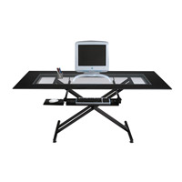Dainolite Lighting Work Station Furniture in Black Glass and Black Graphite  DCT-600-BGL-BK