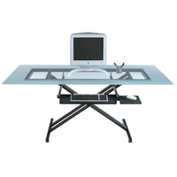 Dainolite Lighting Work Station Furniture in Frosted and Black  DCT-600-GL-BK