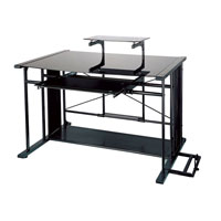 Dainolite Lighting Computer Table Furniture in Black and Black  DCT-926-BGL-BK photo thumbnail