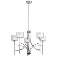 Dainolite Delano 5 Light Chandelier in Satin Chrome with Clear and Frosted White Glass DEL-295C-SC