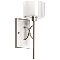 Dainolite Delano 1 Light Sconce in Satin Chrome with Clear and Frosted Glass DEL-61W-SC