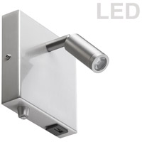 Dainolite DLED717-W-SC Signature LED 5 inch Satin Chrome Wall Sconce Wall Light, USB Port
