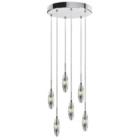 Dainolite Lighting Crystal 6 Light Pendant in Polished Chrome  DLSL456-PC-12R