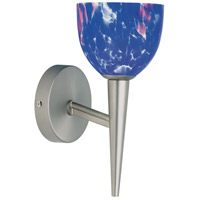 Blue Mosaic Glass 1 Light 5 inch Satin Chrome Wall Lamp Wall Light