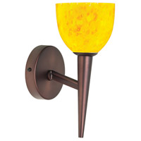Yellow Petal Glass 1 Light 5 inch Oil Brushed Bronze Wall Lamp Wall Light