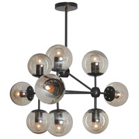 Domi 9 Light 26 inch Matte Black and Champagne Chandelier Ceiling Light