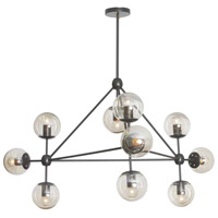 Domi 10 Light 44 inch Matte Black Chandelier Ceiling Light
