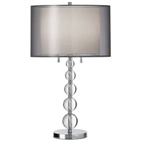 Crystal Organza 30 inch 100 watt Polished Chrome Table Lamp Portable Light
