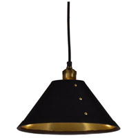 Fayette 1 Light 12 inch Vintage Steel Pendant Ceiling Light, Brass Rivets
