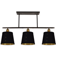 Fayette 3 Light 34 inch Vintage Steel Horizontal Pendant Ceiling Light, Brass Rivets