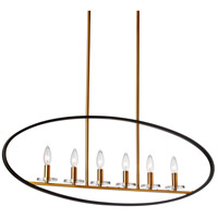 Fiorella 6 Light 36 inch Matte Black and Vintage Bronze Horizontal Pendant Ceiling Light