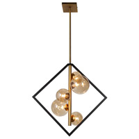 Glasglow 5 Light 20 inch Matte Black and Vintage Bronze Pendant Ceiling Light