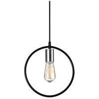 Dainolite GMT-111P-MB-PC Geometric LED 12 inch Matte Black and Polished Chrome Pendant Ceiling Light