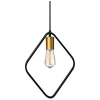 Dainolite GMT-131P-MB-VB Geometric LED 13 inch Matte Black and Vintage Bronze Pendant Ceiling Light