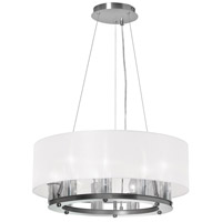 Dainolite Gallery 9 Light Chandelier in Satin Chrome with White Shade GRY-2109C-SC-790