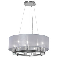 Dainolite Gallery 9 Light Chandelier in Satin Chrome with Silver Organza Shade GRY-2109C-SC-814