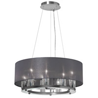 Dainolite Gallery 9 Light Chandelier in Satin Chrome with Black Lam Organza Shade GRY-2109C-SC-815