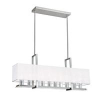 Dainolite Gallery 10 Light Horizontal Chandelier in Satin Chrome with White Shade GRY-3510C-SC-790