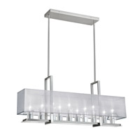 Dainolite Gallery 10 Light Horizontal Chandelier in Satin Chrome with Silver Organza Shade GRY-3510C-SC-814