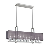 Dainolite Gallery 10 Light Horizontal Chandelier in Satin Chrome with Black Lam Organza Shade GRY-3510C-SC-815