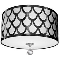 Hannah 3 Light 15 inch Black and Polished Chrome Flush Mount Ceiling Light