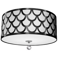 Dainolite HAN-184FH-PC-BW Hannah LED 19 inch Black and Polished Chrome Flush Mount Ceiling Light in Black and White