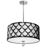 Dainolite HAN-194P-PC-BW Hannah 4 Light 19 inch Black and Polished Chrome Pendant Ceiling Light