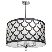 Hannah 6 Light 22 inch Black and Polished Chrome Chandelier Ceiling Light