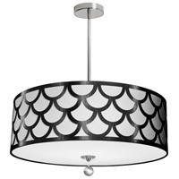 Hannah 4 Light 24 inch Black and Polished Chrome Pendant Ceiling Light