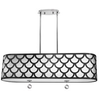 Hannah 4 Light 35 inch Black and Polished Chrome Pendant Ceiling Light
