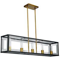 Dainolite HG-385HP-MB-VB Highgate 5 Light 38 inch Matte Black and Vintage Bronze Pendant Ceiling Light