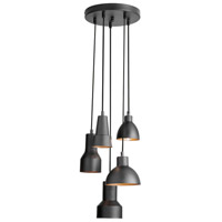 Dainolite Industrial Chic 5 Light Pendant in Black/Gold IC-105P-BLK