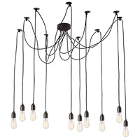 Industrial Chic 10 Light 2 inch Matte Black Pendant Ceiling Light