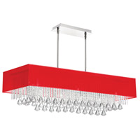 Dainolite Jacqueline 10 Light Chandelier in Polished Chrome with Red Linen Shade JAC3610C-PC-795