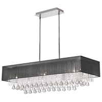 Jacqueline LED 14 inch Polished Chrome Chandelier Ceiling Light in Black Laminated Organza