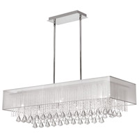 Dainolite Jacqueline 10 Light Chandelier in Polished Chrome with White Lam Organza Shade JAC3610C-PC-819