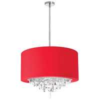 Dainolite Jasmine 6 Light Chandelier in Polished Chrome with Red Lycra Shade JAS-196C-PC-927