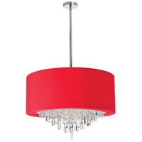 Dainolite Jasmine 8 Light Chandelier in Polished Chrome with Red Lycra Shade JAS-258C-PC-927