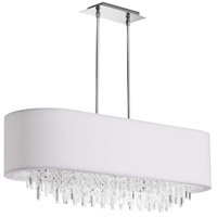Dainolite Jasmine 8 Light Chandelier in Polished Chrome with White Lycra Shade JAS-41C-PC-900